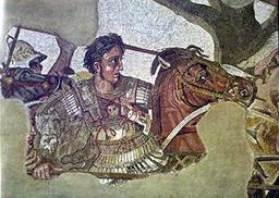 Alexander de Grote op een moza?ek in Pompeii.